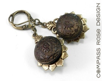 Antique Button Earrings, Vintage Industrial Steampunk Earrings, Antique Brass Police Uniform Button Earrings - Letter P, Steampunk Jewelry