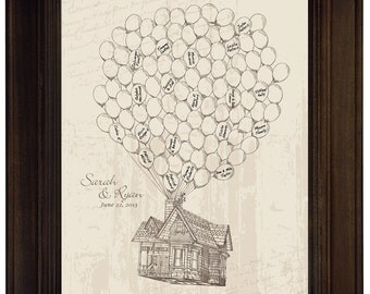 Guestbook Alternative Wedding Guest Book Alternative Disney Pixar UP House Adventure Guest Book Movie Up Flying House w Balloons