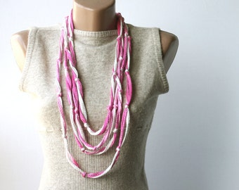 Summer Scarf Skinny fiber necklace Infinity with knots Summer fashion vegan pink white multicolor