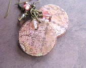 Pretty in Pink earrings - Free US Ship - Old World style OOAK earrings with pinks and golds in vintage pattern