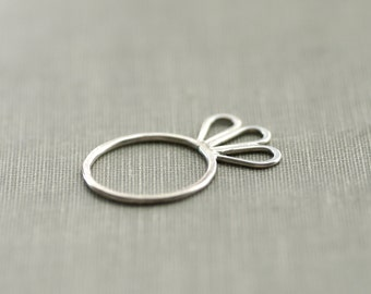 Flower Petal Sterling Silver Ring - Size 7