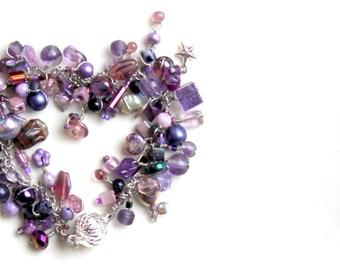 amethyst bracelet / beaded lavender purple healing clarity gift.  handmade artisan wrap jewelry by UniqueNecks