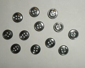 "Vintage Dark Grey Glossy 4-hole 3/8"" Button -- 36 pcs   (B404)"