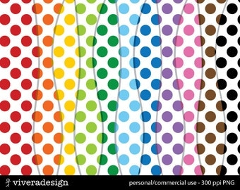 Polka-Dotted Digital Papers in Bright Rainbow Colors and White Background