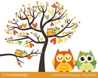 Owl Love Birds - Almost Autumn - Digital Clip Art