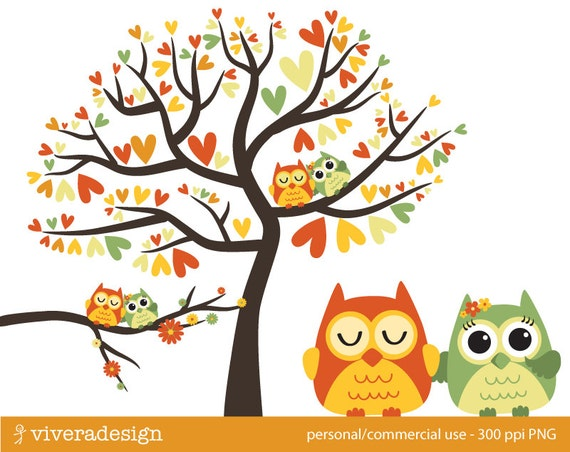 owl love birds almost autumn digital clip art by viveradesign clip art owl in a tree clip art owl in a tree