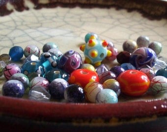 Party Time - FIESTA - Lampwork Bead Mix - 44 beads