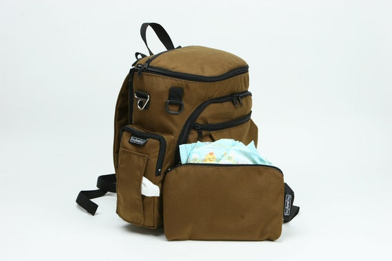Brown Canvas Diaper Bag , Backpack Diaper Bag , Stroller Bag and Laptop Bag - Tinky the  Diaper Bag for Dads and Mams