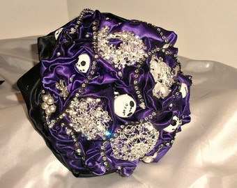 Nightmare before Christmas themed  brooch bouquet   For alternative wedding bouquet .,  brooch bouquet,  bridal bouquet, brooch  bouquet,