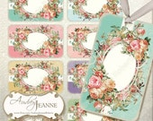 INSTANT DOWNLOAD Vintage Roses digital collage sheet  AJR-B003-O hang tags antique pink yellow red roses shabby chic product tag