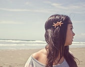Double Starfish Headband Mermaid Hair Accessories Beach Lover Beachy Ariel Costume Boho Bohemian Hippie Hipster Nautical Womens Gift Summer