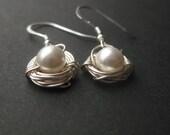 One Pearl Bird's Nest Earrings Sterling silver hooks