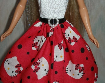 "Handmade 11.5"" fashion doll clothes - red and white hello kitty dress"