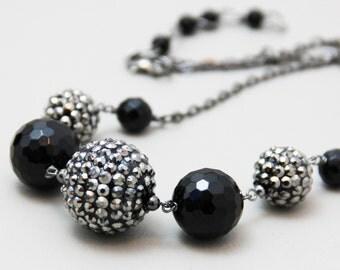 Center Sparkle - Elegant Faceted Black Onyx Natural Stone Swarovksi Crystal Necklace - Shiny Black Gray Gunmetal Bold Necklace