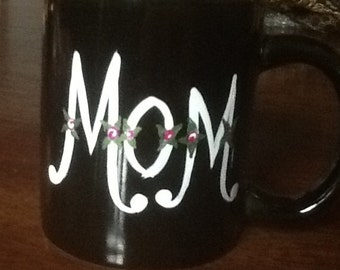 Mom Coffee Mug Hand Painted Flower Script Black with White Lettering
