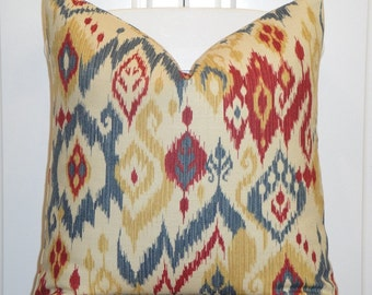 BOTH SIDES or Front Only IKAT - Decorative Pillow Cover - Red - Navy Blue - Gold - Ecru