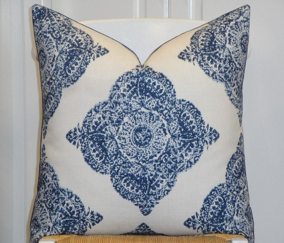 Duralee Fabric From The John Robshaw Collection  - Hand Made Pillow Cover - Diamond - Batik - Mani in Indigo - Blue - Accent Pillow