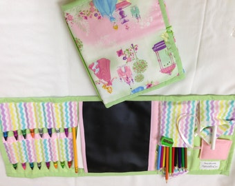 Princess'  Art Tote in a pretty print complete with chalk, eraser, chalkboard, colored pencils, pencil, crayons, and paper