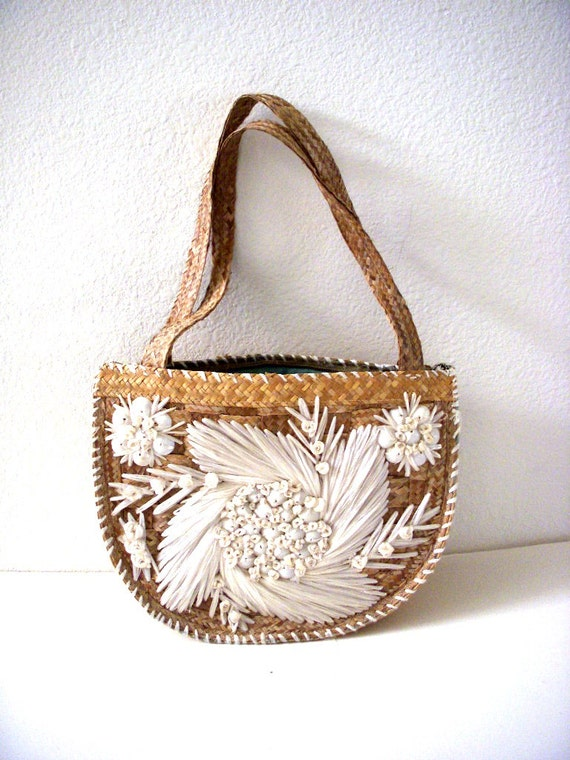 Vintage 50s Straw Purse With White Raffia Flowers And Sea