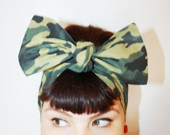 Vintage Inspired Head Scarf, Camouflage