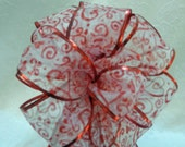 Valentine Bow Sheer ribbon with red hearts and Swirls  printed on it  with red metallic edge