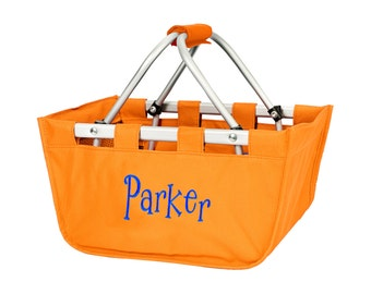 orange market tote with personalized embroidery