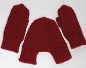 Red knit smitten mittens gift for him and her cabled hand holding couple gloves for lovers wedding gift for couples