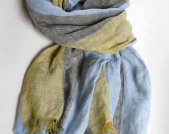 Striped linen scarf pale mustard blue gray long unisex scarf pure linen summer shawl gift for men for women