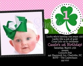 St Patricks Day Birthday Invitation - Saint Patricks Day Birthday Invitation - St. Patrick's Day Birthday Party Invitations - Pink Green