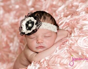 baby headband, lace baby headband, vintage newborn headband, black, white