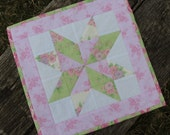 Pastel Star Quilted Table Runner Shabby Chic Mug Rug
