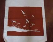 Vintage Marshka rust bird scene silk screen print