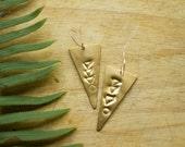 Tribal Jewelry, Triangle Earring, Geometric Jewelry, Stamped Jewelry