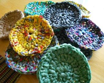 crochet plastic bag scrubbies (set of 5)