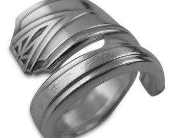 Silver Art Deco Decorative Spoon Ring, Deauville 1929