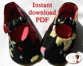 Sewing. Pattern. Baby. Black. Shoes. Elastic Strap.  DIY.  Newborn to 24 Months