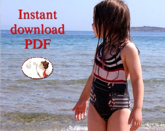 Swimsuit. Sewing. pattern. baby. toddler, kid. PDF. sewing. pattern.  picture. tutorial.  sizes 18 Months to 6T - 86EU to 116Eu