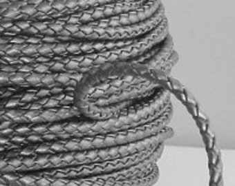 5 meters of 3mm Silver Metallic Braided Bolo Leather Cord