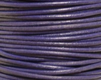 1mm Round Leather Cord Violet : 2 yards 1.83m