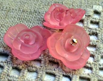 50pcs Frosted Lucite Flower Rose Beads Acrylic 21x8mm Pink