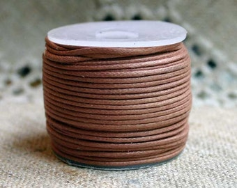 Cotton Cord Light Brown Waxed 0.5mm 100-Meter