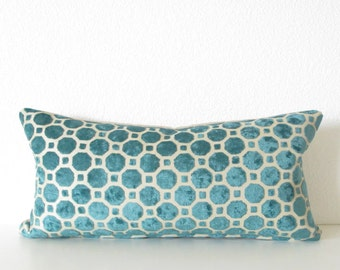 geometric velvet cut teal turquoise 8x16 mini lumber pillow cover - Decorative Lumbar Pillows