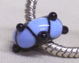 SRA, Glass Large Hole Lampwork Bead - Fits European Charm Bracelets Black with Blue Design and Black Raised Dots