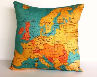 Vintage atlas print pillow cover/  EUROPE Organic cotton cushion cover/ 16 inch pillow, 40cm cushion