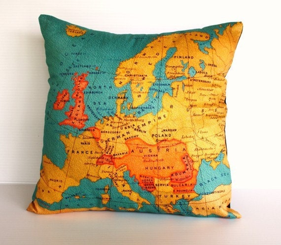 Decorative throw pillow map cushion cover EUROPE Organic cotton cushion covers  16 inch pillow,40cm cushion