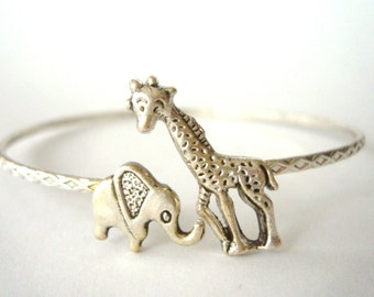 Giraffe cuff bracelet with an elephant wrap style, animal bracelet, charm bracelet, bangle