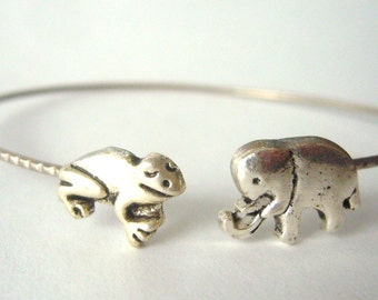 frog elephant bracelet wrap, animal bracelet, charm bracelet, bangle