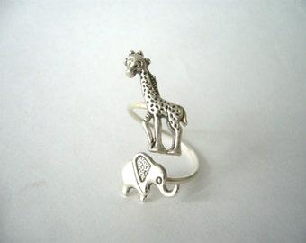 silver elephant giraffe ring wrap style, adjustable ring, animal ring, silver ring, statement ring