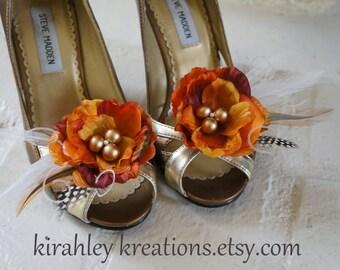 FALL WEDDING Shoe Clips - Burnt Orange Pumpkin Gold Berry Peony Flower Wedding Shoes Ivory Guniea Feather Autumn Bride Bridesmaid Accessory