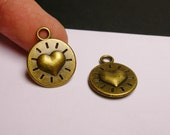 Heart charms - 12 pcs - antique bronze - two sided - BAZ24